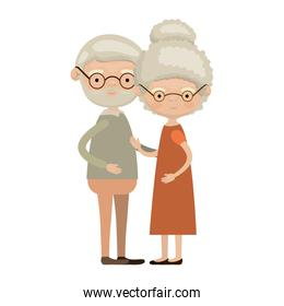 colorful full body elderly couple embraced grandfather with beard and glasses with grandmother curly collected hairstyle in dress