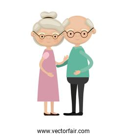 colorful full body elderly couple embraced grandmother collected hairstyle in dress and grandfather with glasses