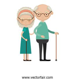 colorful full body elderly couple in walking stick grandmother bow lace and curly hairstyle in dress and grandfather with glasses