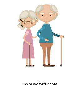 colorful full body elderly couple in walking stick grandmother side collected hairstyle in dress and grandfather with few curly hair
