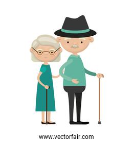 colorful full body elderly couple in walking stick grandmother short hairstyle in dress and grandfather with hat and moustache