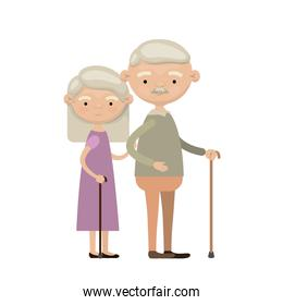 colorful full body elderly couple in walking stick grandmother straight hairstyle in dress and grandfather with moustache