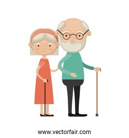 colorful full body elderly couple in walking stick grandmother bow lace and straight short hairstyle in dress and grandfather with beard and glasses