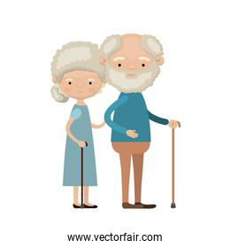 colorful full body elderly couple in walking stick grandmother curly bun hairstyle in dress and grandfather with beard