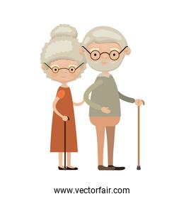 colorful full body elderly couple in walking stick with glasses grandmother curly bun hairstyle in dress and grandfather with beard