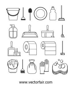 cleaning service elements sketch silhouette on white background