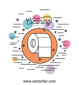 toilet paper cleaning service silhouette in circular frame with color bubbles and decorative stars and lines on white background