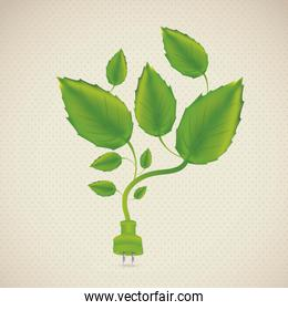 Illustration of ecological plug with leaves and plants vector il