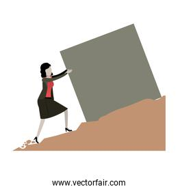 business woman pushing a block over rock landscape and white background