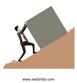 businessman pushing a block over rock landscape and white background
