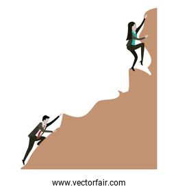 business woman and man trying to climb to the top of rock in white background