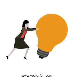 white background with businesswoman pushing a big light bulb