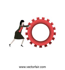 white background with businesswoman pushing a big gears cogwheel