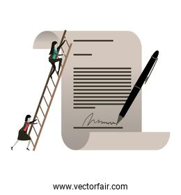 white background with businesswoman climbing wooden stairs in a big contract document with pen and firm