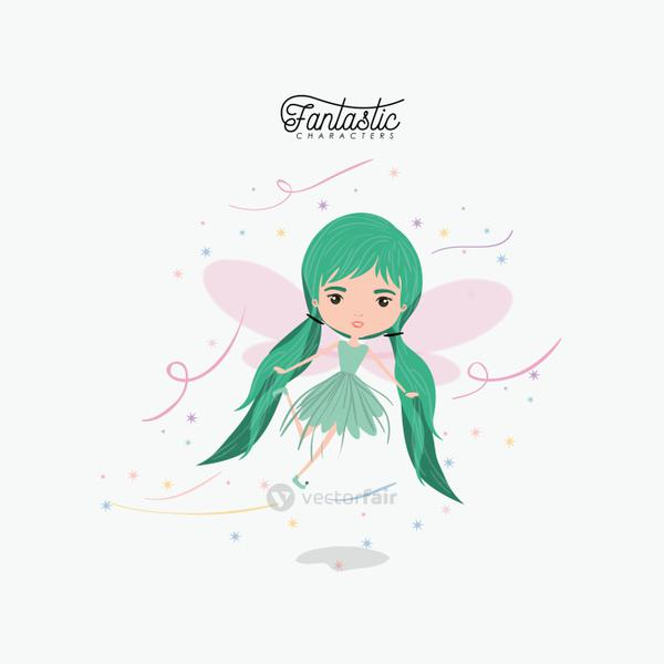 girly fairy fantastic character flying with wings and pigtails hairstyle colorful sparks and stars on white background