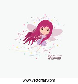 girly fairy fantastic character flying with wings and colorful sparks and stars on white background