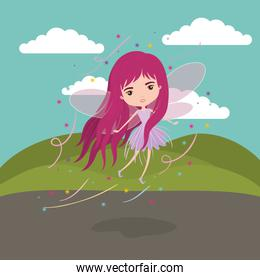 girly fairy fantastic character flying with wings in mountain landscape background