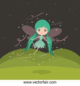 girly fairy fantastic character flying with wings and pigtails in night mountain landscape background