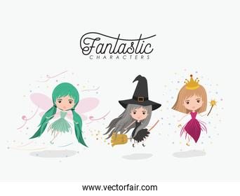 girly fantastic character set of princess fairy and witch on white background