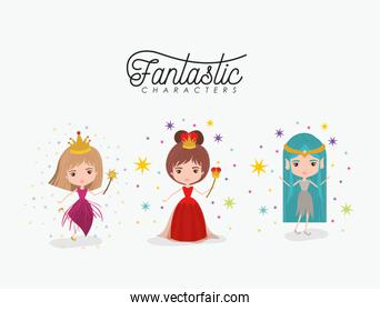 girly fantastic character set of queen fairy and elf princess on white background