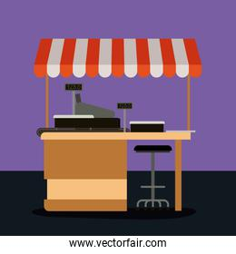 supermarket colorful background of pay point with sunshade