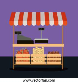 supermarket colorful background of pay point with sunshade and wood baskets with apples bread and sausages