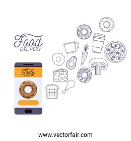food delivery poster with foods and smartphone app
