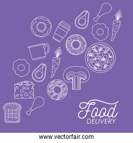 food delivery poster in purple background with tasty foods in white contour