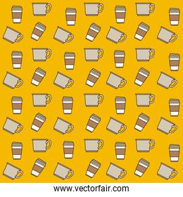cups and disposable cup pattern colorful in yellow background