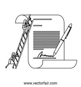 businesswoman climbing wooden stairs in a big contract document with pen and firm monochrome silhouette dotted