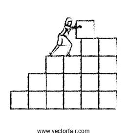 businesswoman pushing a block in structure of bricks silhouette blurred monochrome