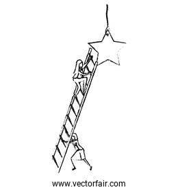 businesswoman climbing wooden stairs to reach a star silhouette blurred monochrome