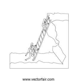 business people trying to climb stairs to the top of rock landscape monochrome silhouette dotted