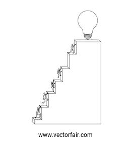 business people climbing stair block structure with light bulb in the top monochrome silhouette dotted