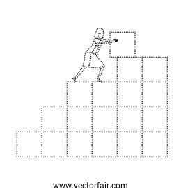 businesswoman pushing a block in structure of bricks monochrome silhouette dotted
