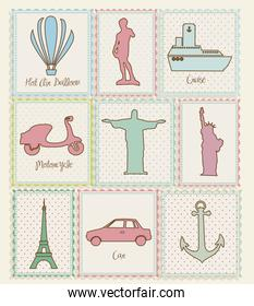 set of travel stamp illustrations and cities around the world  vector