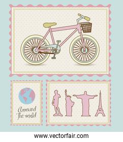 postal bike trip and illustrations of cities arround the world v