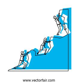 business people trying to climb to the top of rock mountain blue watercolor silhouette