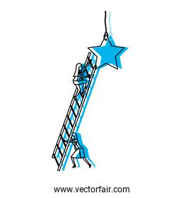 businesswoman climbing wooden stairs to reach a star blue watercolor silhouette