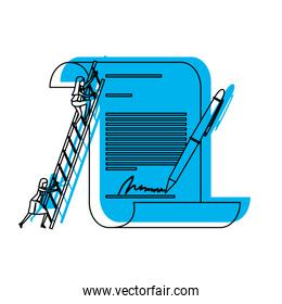 businesswoman climbing wooden stairs in a big contract document with pen and firm blue watercolor silhouette