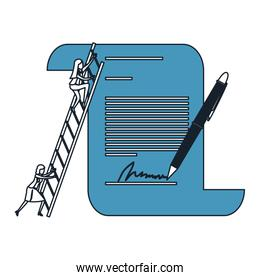 businesswoman climbing wooden stairs in a big contract document with pen and firm color blue sections silhouette