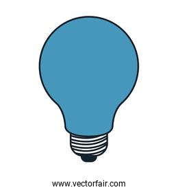 light bulb in color blue sections silhouette