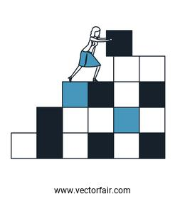 businesswoman pushing a block in structure of bricks in color blue sections silhouette