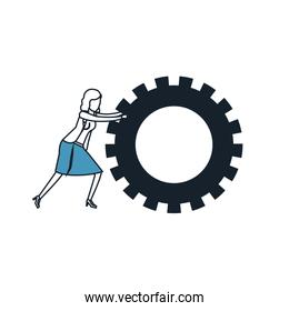 businesswoman pushing a big gears cogwheel color blue sections silhouette