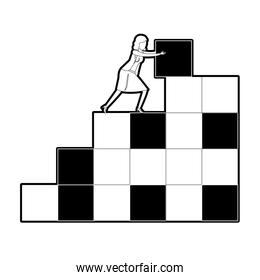 businesswoman pushing a block in structure of bricks black silhouette and thick contour