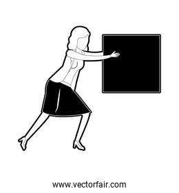 business woman holding a square block black silhouette and thick contour