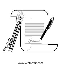 businesswoman climbing wooden stairs in a big contract document with pen and firm black silhouette and thick contour
