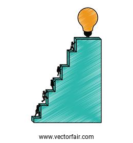 business people climbing stair block structure with light bulb in the top in pencils colored silhouette