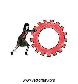 businesswoman pushing a big gears cogwheel in pencils colored silhouette