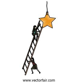 businesswoman climbing wooden stairs to reach a star in pencils colored silhouette